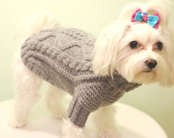Pet Clothing Small Dog Clothes Hand Knit Dog Sweater Knit Dog Clothing Dog Tops Maltese Sweater