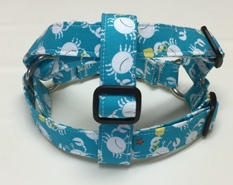 Adjustable Turquise with Crabs Print Step-In Dog Harness