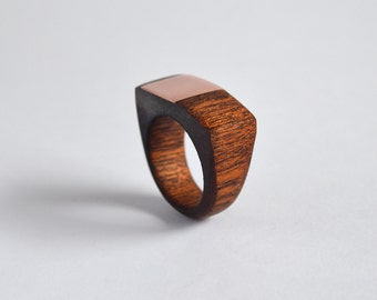 Mahogany Ring with Square Copper Inlay