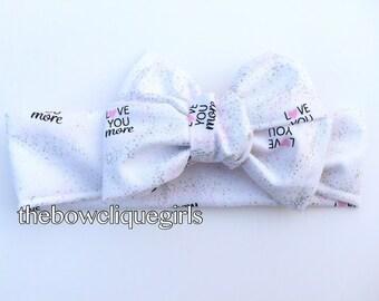 Love you more headwrap .. love bows.. white hair bows.. big bows for girls..sparkly hair bows