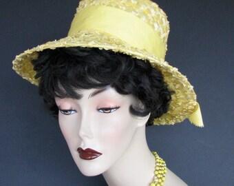 Vintage Hat Yellow 1960s Straw  Hat