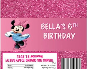 Disney Minnie Personalized Candy Bar Wrapper Birthday Party Favor