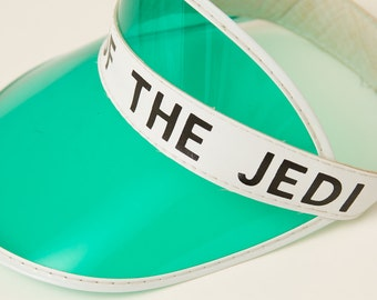 Vintage Star Wars RETURN of the JEDI green celluloid visor sun hat RARE / 80's collectible Darth Vader, Luke Skywalker, Jabba the Hutt