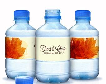 Wedding Water Bottle Labels - Fall Wedding Decor - Wedding Favors - Wedding Bottle Wraps - Autumn Decor - Autumn Colors