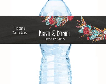 BOHO Wedding Decor - 20 Wedding Water Bottle Labels - Bohemian Chic Custom Water Bottle Labels - Waterproof Water Bottle Labels