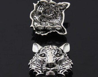 5PCS/Bulk Sale,Antique Silver Tiger Pendant --- Tibetan Silver Tone, Vintage Jewelry Supply ---- 32mm*28mm,  CC104-3359