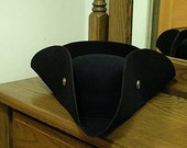 Gold Buttoned Black Felt Tricorn - Cocked Hat - Colonial America
