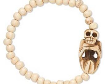 Bone Bead Bracelet with Carved Pleading Skeleton - Memento Mori - Goth