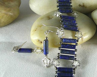 Lapis Lazuli Stripes and Moonstone Stars - Bracelet and Earrings Set