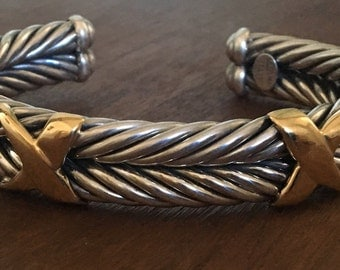 18K and Sterling Silver Twisted Italian Cable Cuff Bracelet