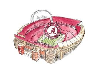 University of Alabama Bryant–Denny Stadium print