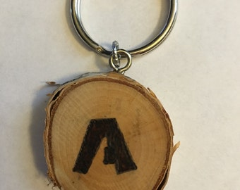 Wood burned keychain, purse charm, pendant. Pyrography