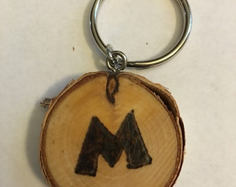 Keychain, purse charm, pendant, wood burned, personalized, pyrography, gift tag, gifts under 10