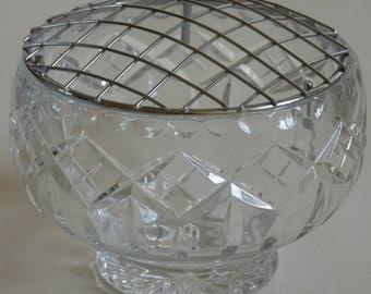 Vintage Glassware - Vintage Heavy Glass Flower Posy Bowl