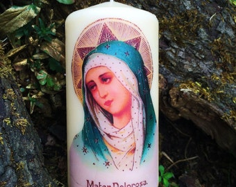 Vintage Virgin Mary Mater Dolorosa Our Lady of Sorrows Candle
