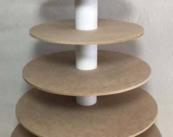 6 Tier Round Custom Made Unfinished Cupcake Stand.  Holds up to 115 Cupcakes.