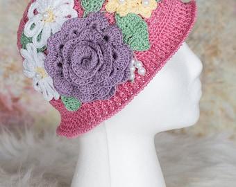 Girls Panama Hat, Easter hat, Little Girls Panama Hat, Toddler Panama Hat, Girls Sun Hat, Girls Cloche, Girls Crochet Hat, Toddler Cloche