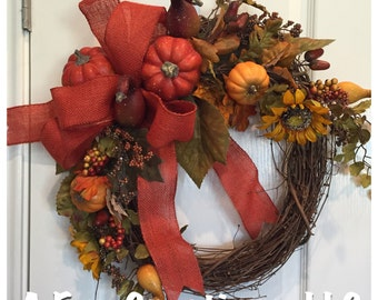 FREE SHIPPING! Fall Grapevine Wreath (Orange Ribbon)