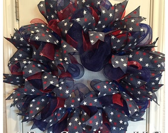 FREE SHIPPING!! Simple Stars Patriotic Deco Mesh Wreath