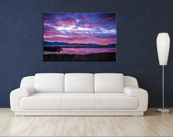 Metal Wall Art, Metal Print, Large Metal Wall Art, Large Wall Art, Fine Art Print, Landscape Photography, Utah, Utah Lake, Pink, Sunset