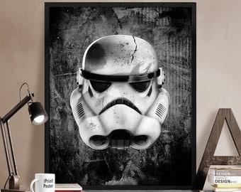 Stormtrooper, star wars, print, poster, star wars helmet, star wars galactic empire, Illustration, boyfriend gift, Wall art, iPrintPoster
