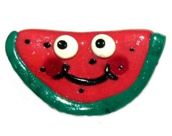 Watermelon badge, brooch, pin, kawaii, googly eyes, fun badges pins