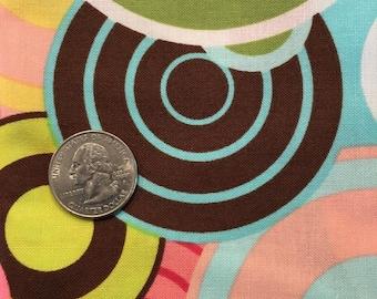 Fat quarter. Pink, brown, blue, yellow, green circles