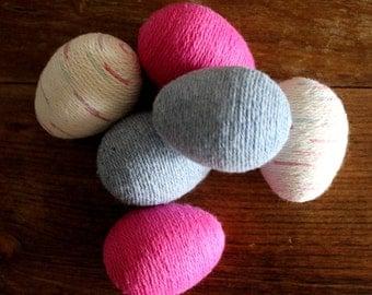 Easter Eggs   Yarn Eggs   Pink Blue & Speckled Beige Reusable Easter Eggs