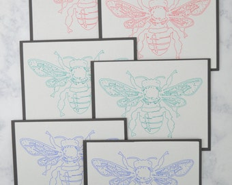 Handmade Blank Note Cards - Bees