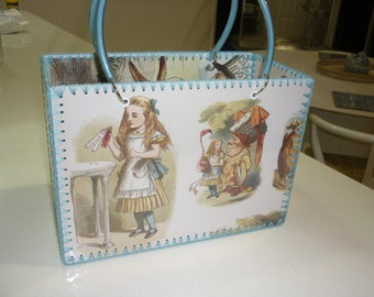 Retro style bag with Alice in Wonderland images just like made in the 50-60's.