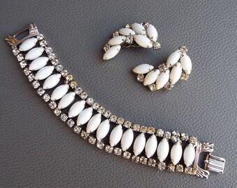 Vintage by Gale Art Deco Demi Parure Milk Glass Rhinestone Bracelet & Matching Crescent Earrings