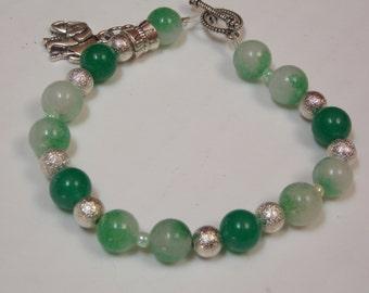 Hand made one of a kind Beaded bracelet w/ Silver Elephant charm