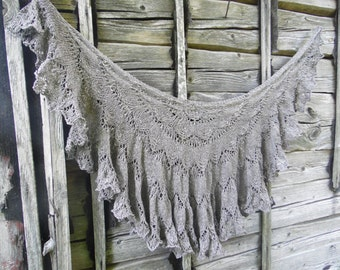 Hand knitted gray scarf, hand knit gray shawl, lace shawl, knit scarf, gray lace shawl wrap, women shawl, women accessories, gift for her