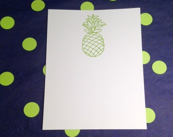 Pineapple/Welcome/Tropical Note Cards and Envelopes - Lime Green and White - Set of 8