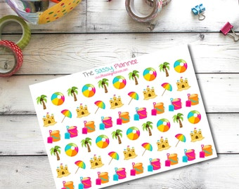 H4 Beach vacation day trip summer fun planner stickers for Erin Condren Life Planner