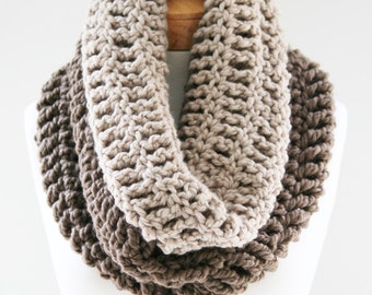 Oversized Chunky Cowl, Color Block Scarf, Ombre Scarf, Handmade Scarf, Chunky Infinity, Ombre Knit Scarf,Color Block
