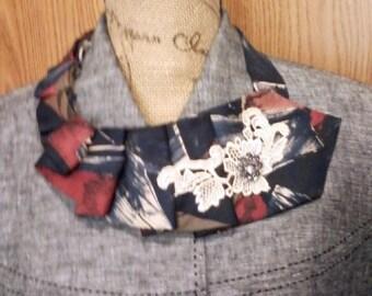 Rhinestone and Lace Embellished Necktie Scarf; Necklace; Shabby Chic; Boho; Bohemian