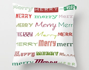 """Christmas Decorative Throw Pillow Case Cover - Typography, 16""""x16"""""""