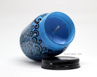Swirly Blue Mason Jar Candle