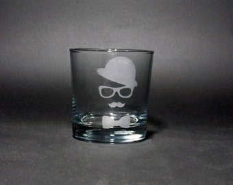 Gentleman Rocks Glass - Mustache Glass - Hipster Rocks Glass - Groomsman Gift - Gifts for Him - Unique Wedding Glass - Wedding Favor