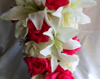 HOT Pink and Ivory cascading bouquet 2 Pc lilies, callas, and roses