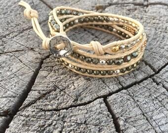 Pyrite and Sterling Silver Leather Wrap Bracelet/Bohemian Bracelet/Sundance Style/Boho Chic/Western Bracelet