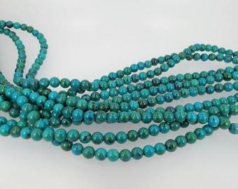 Azurite chrysocolla round beads 8mm. DIY loose beads, gemstone round beads, Full strand