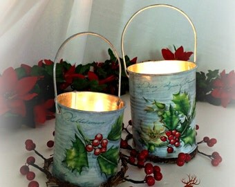 Christmas tin can candle holders, painted and decoupaged, Holiday mantel decor, Christmas home decor, hand decorated, hostess gift, set of 2