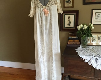 Edwardian Silk and Lace Nightgown NOS