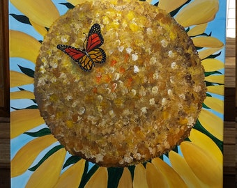 Sunflower...acrylic painting...girl's room...children's room...home decor...wall art...20 x 26 ""