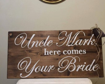 Wooden Sign - Daddy Here Comes Mommy - Wedding Decor - Here Comes the Bride Sign - Ring Bearer -