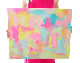 """Bright Abstract Painting """"SUMMER DAY"""" Colorful Canvas Original Art"""
