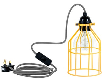Yellow Cage Guard Vintage Industrial Light Table Lamp Ceiling Light