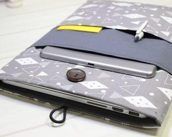 15 inch laptop case, gray laptop case, 15 Macbook Pro case, geometric laptop case, gray Macbook case, Macbook Pro sleeve, Pro Retina case 15